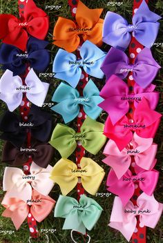 Hazel needs some big bows for Christmas :) in every color! 10 hair bows / 100 each /  girls hair bows / by whomadethatbow, $10.00