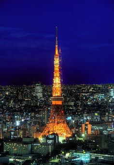 Tokyo Tower at Dusk by jphanky08 via Flickr