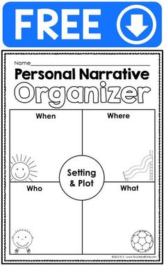 FREE personal narrative writing ideas chart, checklist and graphic organizer for beginning writers