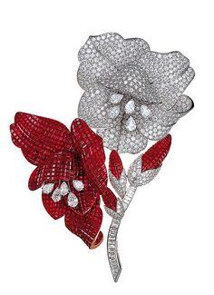 Ruby and Diamond Flower Brooch by Van Cleef & Arpels