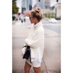 photo courtesy: Happily Grey Why it works: The off white tone on tone looks chic and crisp together. And the messy top bun finishes the look for an effortless feel. Get the look: Turtleneck, Off White Skirt, White Button Down Shirt. Looks Street Style, Looks Style, Mode Outfits, Winter Outfits, Casual Outfits, Winter Dresses, Dress Winter, Dress Casual, Winter Clothes