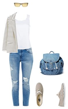 Stripes and denim by iktar on Polyvore featuring мода, St. John, MANGO, Ted Baker, Vans, Dance & Marvel and Donna Karan