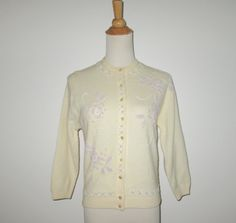Vintage 1950s Cream Floral Beaded Sweater By Full Fashion - S, M by SayItWithVintage on Etsy