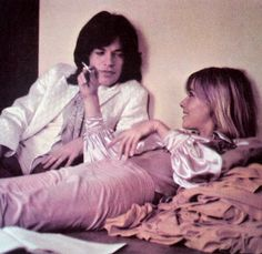 Anita Pallenberg and Mick Jagger on the set of Performance