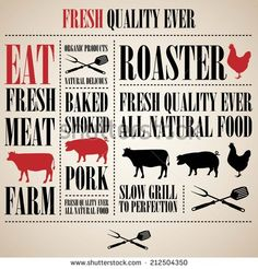 Vintage Steak Menu with a pig , a cow and a chicken  - stock vector