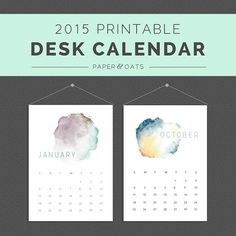 New Printable 2015 Desk Or Wall Calendar PDF // Watercolor, Abstract, Clean…