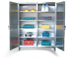 Stainless Steel Double Shift Cabinet - Our heavy duty 12 gauge stainless steel double shift cabinet. When you need to lock up half the cabinet while getting into the other half. This includes 14 gauge shelves that can be adjusted in 2 inch increments. 3-point locking device can be locked with a standard padlock. Stainless Steel Cabinets, Industrial Storage, Kitchen Equipment, Storage Solutions, Locker Storage, Shelves, House, Furniture, Home Decor