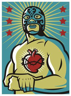 Shop Corazon Latino Poster created by alderete. Personalize it with photos & text or purchase as is! Graphic Illustration, Graphic Art, Graphic Design, Mexican Wrestler, Mexico Art, Mexican Designs, Mexican Folk Art, Urban, Vintage Comics