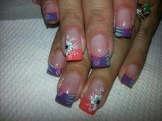 Uñas Crazy Nails, Flower Nails, Short Nails, Summer Nails, Nail Art Designs, Gel Nails, Purple, Makeup, Beauty