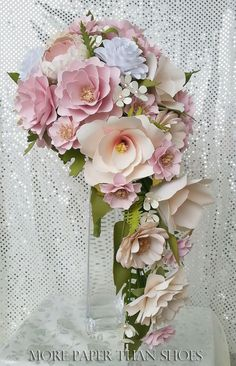 Paper Bouquet - Cascading Bouquet - Paper Flower Bouquet - Wedding Bouquet - Country White and Blush Pink - Custom Made - Any Color