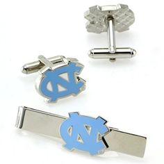 North Carolina Tar Heels (UNC) Silvertone Team Logo Tie Clip & Cufflinks Set
