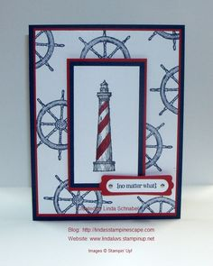 Simply Sunday: You're My Light / Father's Day Card. From Land to Sea stamp set and Petite Pairs. Nautical card works well for masculine themed cards. http://lindasstampinescape.com / Shop 24/7 for supplies at www.lindaluvs.stampinup.net