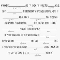 Baby Mad Libs with Teepee Kids Math Worksheets, Printable Worksheets, Printables, Nouns And Adjectives, Mad Libs, Simple Baby Shower, Baby Shower Activities, Math For Kids, Card Sizes