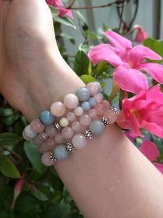 Morganite, Rose Quartz, Amazonite Moon Store, Yoga Bracelet, Crystal Bracelets, Bracelet Designs, Rose Quartz, Photo And Video, Crystals, Stone, Handmade