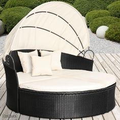 Miadomodo Rattan Sun Lounger Ø 180 cm (Choice of Colours) Height Adjustable Garden Furniture Day Bed Set Canopy Roof (Grey) (Kitchen & Home)