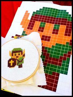 Legend of Zelda- Link 14 ct aida cross stitch..