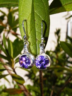 Sterling Silver Amethyst Drop Earrings by GoldiesNaturalGems, $75.00