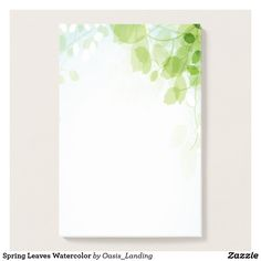 "Spring Leaves Watercolor Post-it Notes - Spring leaves watercolor Notes featuring a lovely watercolor design in shades of spring green, pale blue and white. Add a touch of freshness to your day. This item may be personalized with your name or monogram by selecting the ""Customize It"" button and adding your monogram or other text. Sold at Oasis_Landing on Zazzle."