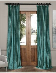 Intense Teal Textured Dupioni Silk Curtain