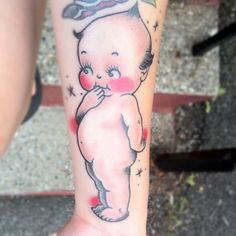 Kewpie tattoo - oh hai, that's mine ;) It was done by Jim Pardi in Schenectady NY