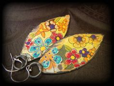 Tin Recycled Upcycled Hand Painted Beaded Earrings by YuccaBloom