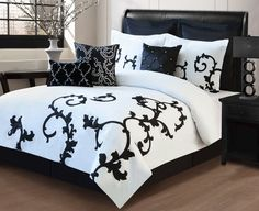13 piece queen duchess black and white bed in a bag set free shipping