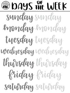 Brush Lettering FREEBIE: Days of the Week Practice Sheet pinsel beschriftung fr. - Brush Lettering FREEBIE: Days of the Week Practice Sheet pinsel beschriftung freebie tage der woch - Brush Lettering Worksheet, Lettering Guide, Hand Lettering Practice, Hand Lettering Alphabet, Creative Lettering, Calligraphy Practice, Graffiti Alphabet, Hand Lettering For Beginners, Calligraphy For Beginners