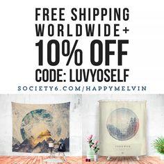 TODAY!!! 10% Off + Free Worldwide Shipping at Society6  Code: LUVYOSELF   #wanderlust #art