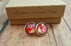 Red Rose Earrings, 12mm Round Glass Cabochon Earrings, Flower Earrings, Stud Earrings, Preppy Earrings, Vintage Look Earrings by BrandywineHD on Etsy