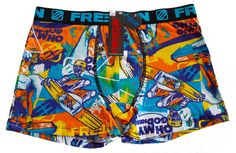 Freegun Cotton Boxer Briefs Men's Underwear Black Cyan Wake Boarding Graphics #Freegun #BoxerBrief
