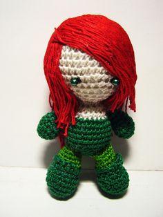 Batman - Poison Ivy doll by Nissie on DeviantArt Yarn Dolls, Crochet Dolls, Crochet Hats, Amigurumi Patterns, Crochet Patterns, Crochet Ideas, Crochet Batman, Face Painting Tutorials, Poison Ivy