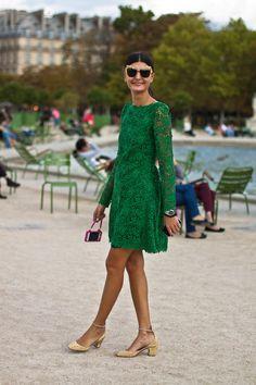 Valentino green lace guipure dress, Paris streetstyle