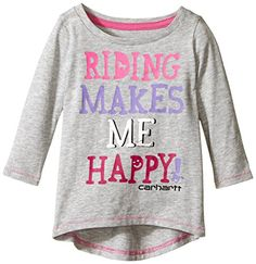 Carhartt Baby Girls Riding Makes Me Happy Tee Grey Heather 6 Months *** To view further for this item, visit the image link.