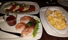 Russels lobster mac and cheese,  shrimp and caprese salad