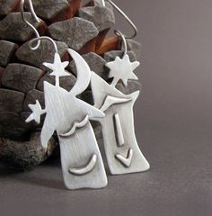 Mismatched Rustic Sterling Silver Earrings House by Jewellietta, €59.00