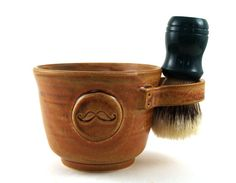 Brown Shaving Mug with a Mustache Shaving Bowl by MiriHardyPottery, $38.00