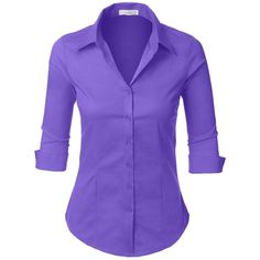 LE3NO Womens Roll Up 3/4 Sleeve Button Down Shirt with Stretch ...