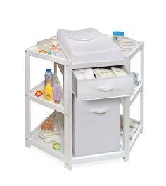Nursery Corner Diaper Changing Table White W/ Hamper Drawer Basket Winter  Sale