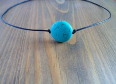 Turquoise bead leather choker necklace, blue gemstone, howlite choker, boho choker, natural stone pendant, layering leather cord collar gift