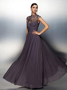 A-line High Neck Floor-length Chiffon Evening Dress (ST1417)