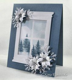 Stamps: Rubbernecker Kittie Kits The Moose is Loose Paper: White, Blue Ink: Stormy Sky Accessories: Poppy Stamps Grand Madison Window Die, Martha Stewart Pine Branch Punch, Spellbinders Poinsettia Die, Mat, Stylus, Glossy Accents, Rhinestones, window Template, Sponge, Stickles: