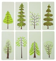 Items similar to GREEN TREE CARDS Letterpress Prints with Envelopes cards holiday christmas trees on Etsy
