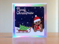 Christmas card, handmade - Marianne hedgehog die.  For more of my cards please visit CraftyCardStudio on Etsy.com.