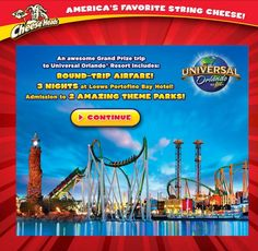 Frigo Cheese Heads Family Fun-for-All Sweepstakes. I just entered for a chance to win a family adventure for 8 to Universal Orlando Resort from Frigo Cheese Heads. Enter every day through 10/15/13!