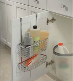 Great tips for organizing under the kitchen sink. | over the door organizer