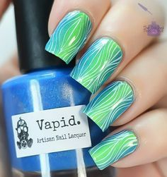 Neon vertical gradient with stamping.  Vapid Lacquer Fractional Distillation and Atomic #10.  Stamping with M Polish Pekin and Pueen make your day.