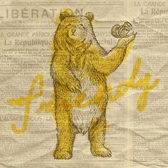Orie's art【Friendly bear / やさしいくま】#bearillust #design #動物イラスト #くまイラスト #bear #イラスト #デザイン #イラスト #細密画 #絵 #おしゃれイラスト Illustration, Illustrations