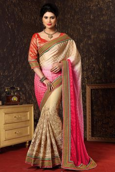 Cream Latest Style Party Wear Saree With Blouse From Skysarees.