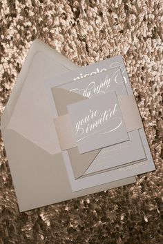 Foil Neutral Romantic Wedding Invitations by JustInviteMe