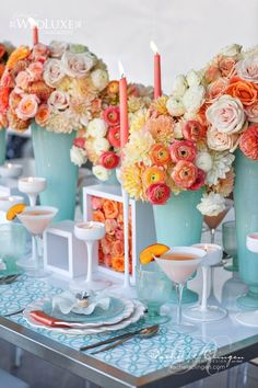 peach and light blue wedding tablescape